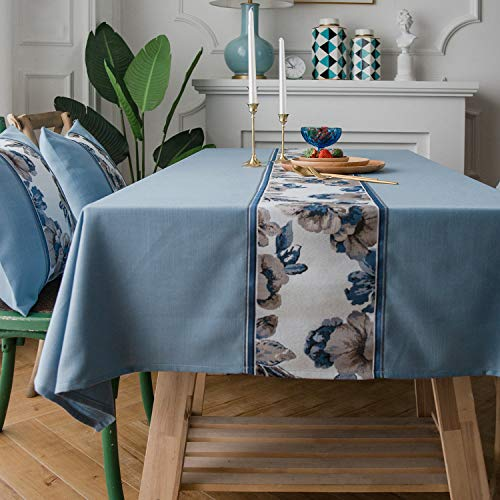 LINENLUX Stylish Square Rectangular Tablecloth/Table Cover for Kitchen Dinning Tabletop Decoration Blue Flower Rectangle/Oblong 55 X 70 in