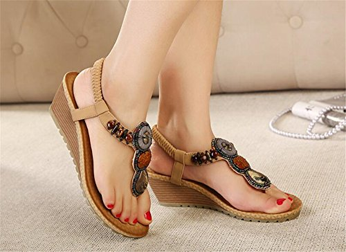 Size Shoes Bead String pit4tk with Beige Bohemian Shoes Large Wedge Beanch Heel Women's Sandals Shoes vqqCPIwY