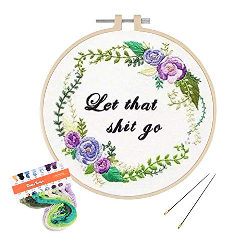 Full Range of Embroidery Kit with Pattern, Hartop Cross Stitch Starter Kit Including Embroidery Cloth with Plants Pattern,Plastic Hoop, Color Threads and Tools Kit (Let That Go)