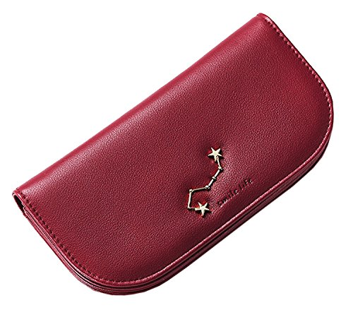 New Leather Case Pu SAIERLONG Clutch Wallet Wine Holder Red Womens Purse Pink 6xgS1UHq