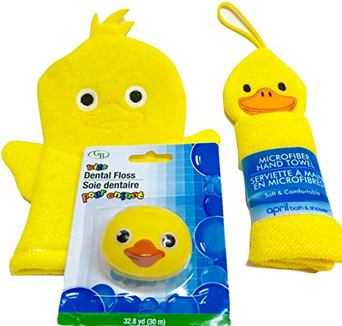 Bath Buddies for Babies & Toddlers. Delightful Yellow Duckies! Microfiber Hand Towel and Bath Puppet Plus Yellow Ducky Dental Floss Dispenser! 3-Piece Bundle
