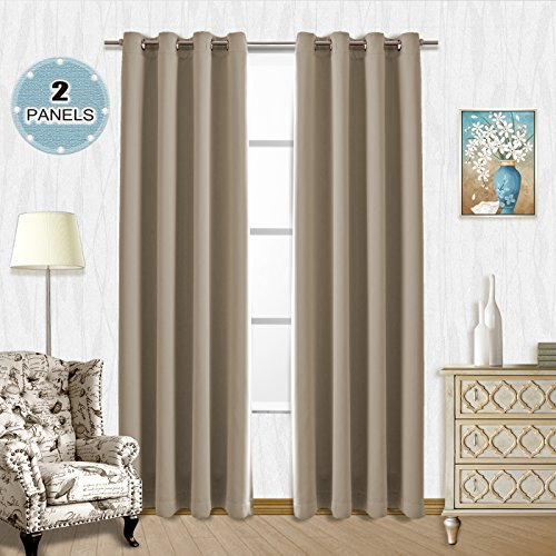 Vangao Light Blocking Decorative Curtains Room Darkening Drapes 2 Panels Antique Taupe 52Wx84L Inch Thermal Insulated Solid Grommet Top Window Blackout Curtains/panels for Kids/Bedroom/Living Room (Taupe Set Room Living)