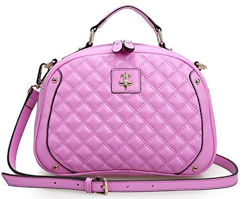 SAIERLONG Womens Small Fragrant Wind Quilted Purple Genuine Leather Messenger bag handbag shoulder bag
