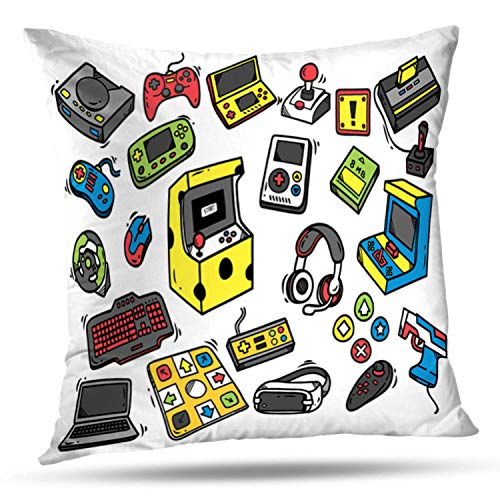 LALILO Throw Pillow Coversgame Doodle Retro Joystick Kids Laptop Sketch Computer Double-Sided Pattern for Sofa Cushion Cover Couch Decoration Home Bed Pillowcase 18 x 18 Inch