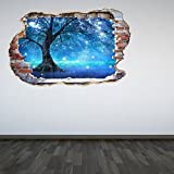 Full Colour Mystical Fairy Tree Smashed Wall 3D Effect Under The Sea Aquarium Ocean Bedroom Wall Sticker Decal Kids Bedroom DecorationAvailable in 2 sizes:- Regular-40cm x 60cmLarge - 60cm x 90cm  Made with quality vinyl Buy with confidence our wall ...