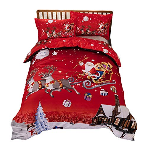Full Duvet Cover Set Soft Microfiber Reversible Comforter Cover Holiday Printed Pattern Bedspreads Queen Size Bedding Set Three-Piece Four-Piece Suit