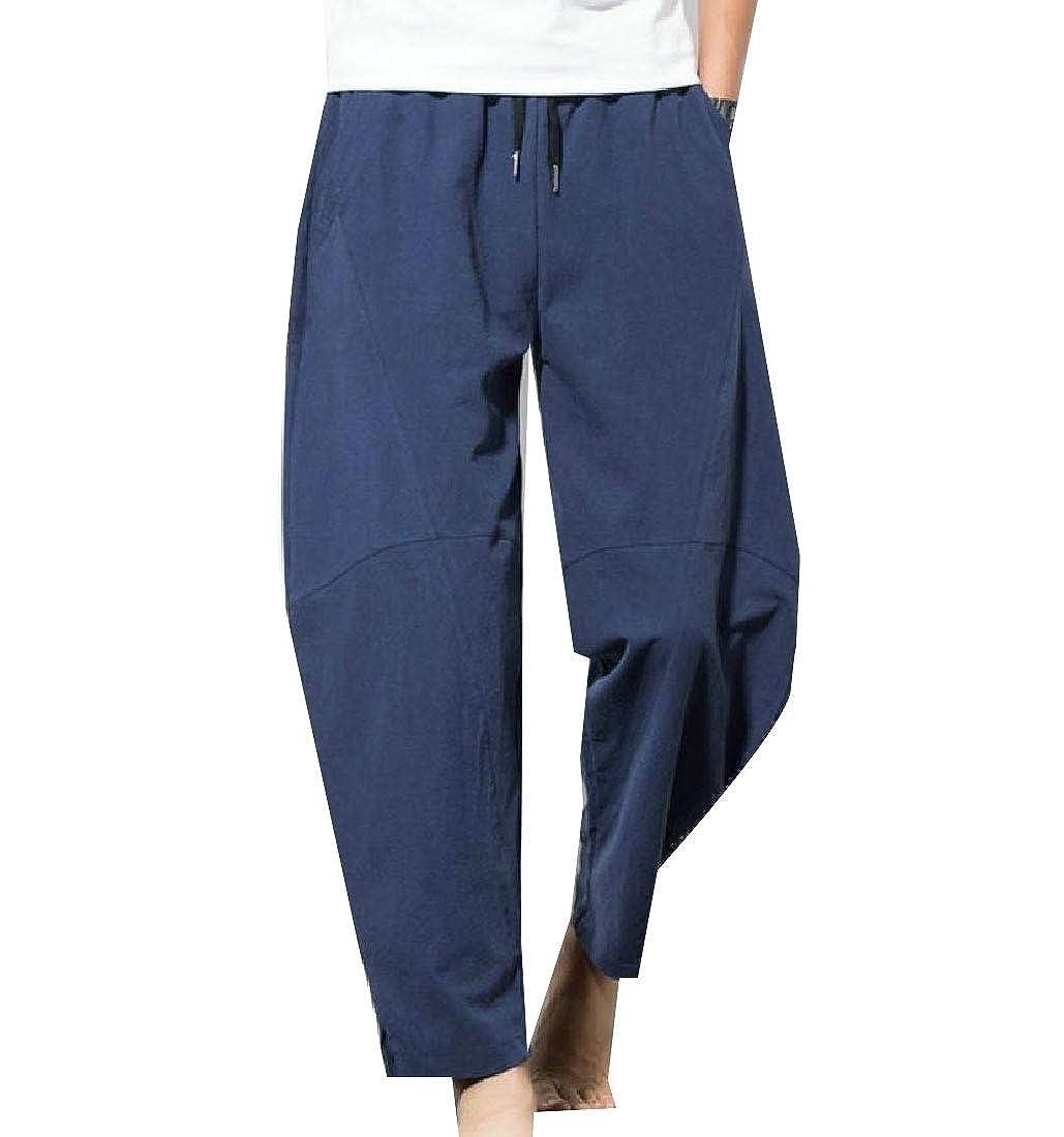 YUNY Men Athletic Wide-Leg Oversized Casual Flexible Fit Harem Pants Navy Blue XL