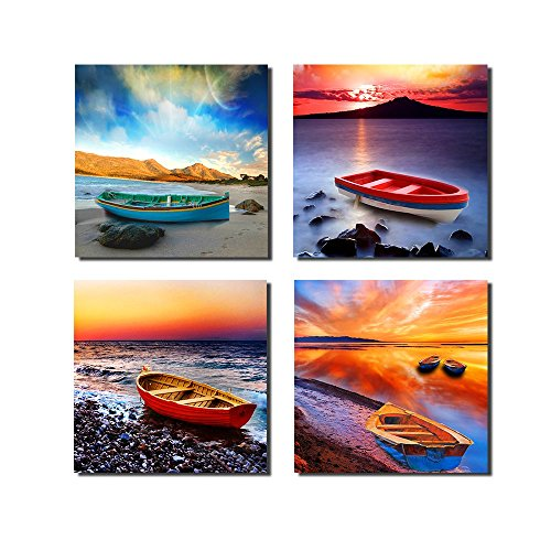 Purple Verbena Art 4pcs/set, Modern Seaview Seascape Giclee Canvas Prints Artwork Contemporary Landscape Sea Beach with Boats Pictures to Photo Paintings on Canvas Wall Art for Home Wall Decor - Boat Photo Print