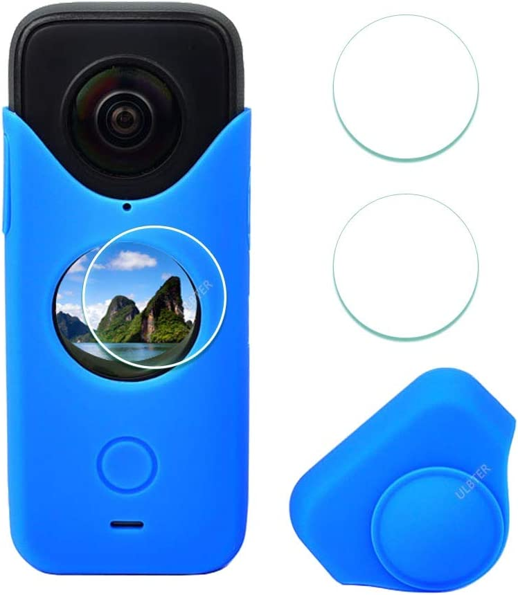 Blue Rubber Sleeve Case for Insta360 ONE X2 Screen Protector ,ULBTER Silicone Protective Case for Insta 360 ONE X2 Panoramic Action Camera Accessory 3+1 Pack