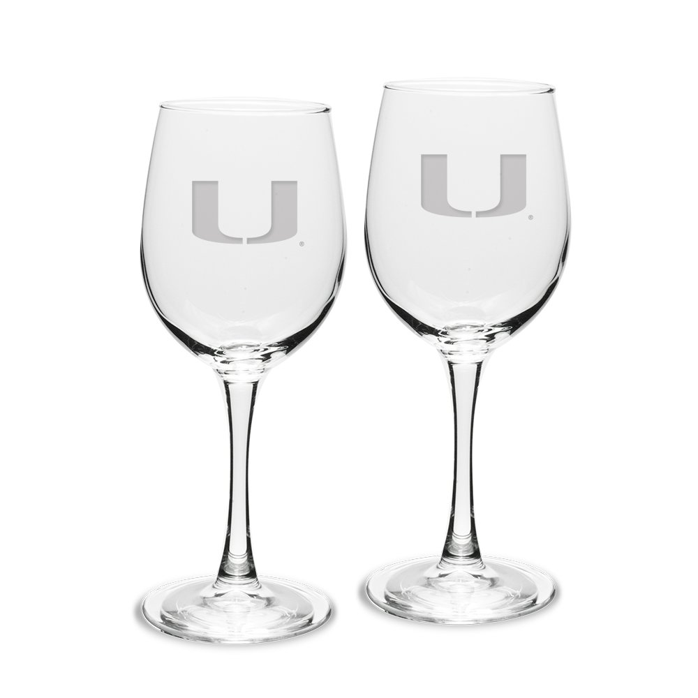 NCAA Miami Hurricanes Adult Set of 2-12 oz White Wine Glasses Deep Etch Engraved, One Size, Clear