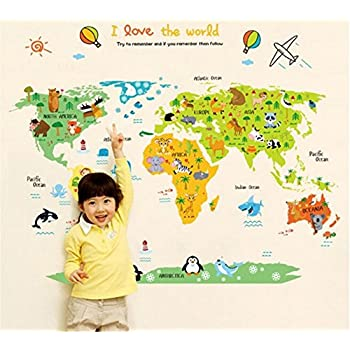 Amazon decowall dlt 1615 animal world map kids wall decals wall ufengke cartoon world map cute animal wall decals childrens room nursery removable wall stickers murals gumiabroncs Gallery