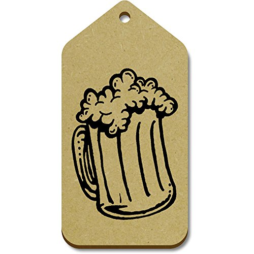 10 x Large 'Glass Of Beer' Wooden Gift / Luggage Tags - Glasses Wooden Uk