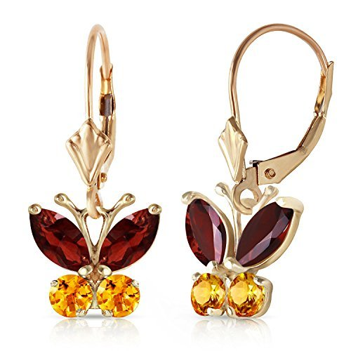 14k Yellow Gold Garnets and Citrines Butterfly Earrings by Galaxy Gold