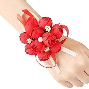 AOLVO Wrist Corsage Wristband|Wrist Flower,Wedding Bridal Bridesmaid Wrist Bands Flower Corsage Wristlet Bracelet Silk Artificial Fake Flowers for Prom, Party, Wedding Hand Flower Decor 16
