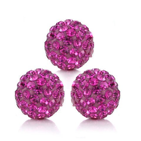 (10 PSC 12mm Fuchsia Swarovski Crystal Loose Spacer Bead Pave Disco Ball)