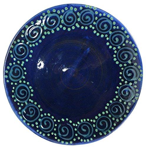 Peapod Dinner - Earthworks Handmade Stoneware Dinnerware Pottery (Dinner plate (11-1/4-in), Blue Squirl)