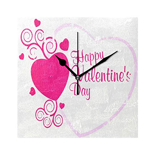 FunnyCustom Square Wall Clock Valentine's Day Love Background 7.8 Inch Creative Decorative for Living Room/Kitchen/Bedroom