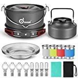 Odoland 22pcs Camping Cookware Mess Kit, Large Size Hanging Pot Pan Kettle with Base Cook Set for 4, Cups Dishes Forks Spoons Kit for Outdoor Camping Hiking and Picnic