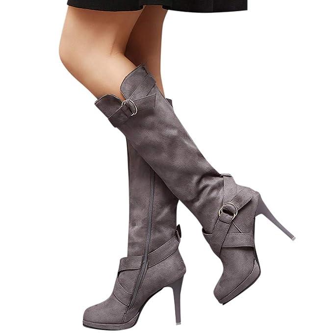 Longra ☂☂❤ ❤ Zapatos con Hebilla de diseño Envolvente Roman Platform High