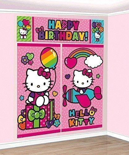 New Sanrio Hello Kitty Rainbow Scene Setter Wall Decorations Kit - Kids Birthday and Party Supplies -