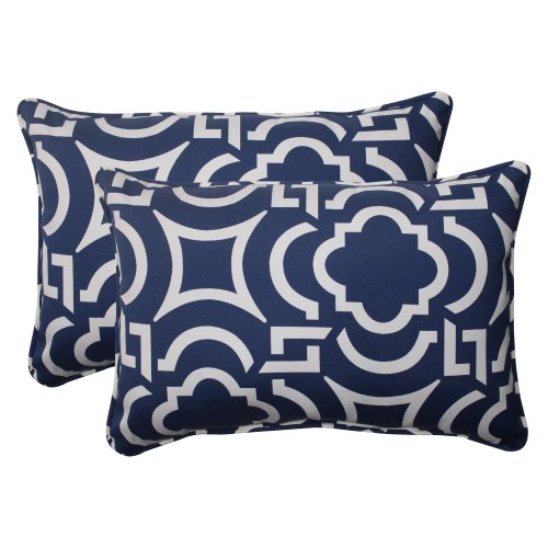(Pillow Perfect Outdoor Carmody Corded Oversized Rectangular Throw Pillow, Navy, Set of 2)