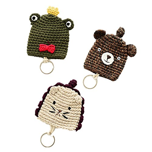 SFamily Cute Cartoon Animal Hand Knitting Withdrawing Key Hooks Case keychains Ring