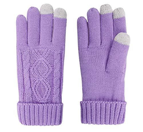Livingston Womens Cable Knit 3 Finger Touchscreen Sensitive Winter Gloves