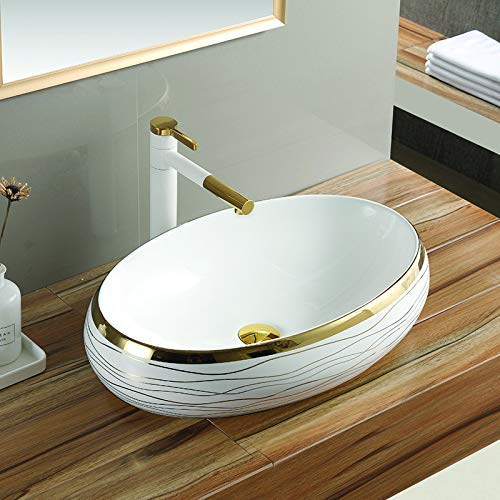 Fuao Sanitary Ware Table Top Premium Designer Ceramic Bathroom Wash Basin Vessel Sink For Bathroom Golden Wbn 1327 Amazon In Home Improvement