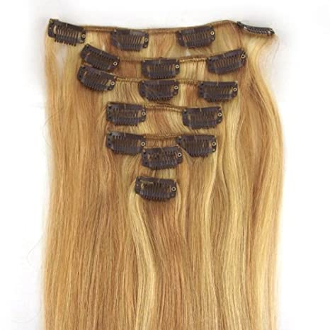 CLIP IN REMY REAL HUMAN HAIR EXTENSIONS 7PCS 18 Inch 70g color 60 platinum blonde / lightest blonde abstract