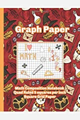 Graph Paper Math Composition Notebook Quad Ruled 5 squares per inch  Square Grid Paper - Wizard Paperback