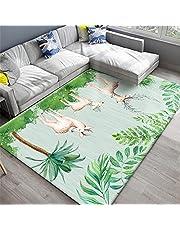 vloerkleden voor woonkamer Groen tapijt, zacht vrijetijds- en kleurvast antibacterieel tapijt met bladeren en dierenpatronen pluizig tapijt -groen 180x280cm