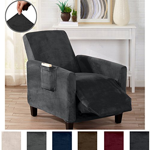 n Velvet Plush Strapless Slipcover. Form Fit Stretch, Stylish Furniture Cover/Protector. Gale Collection by Brand. (Recliner, Dark Grey) (Modern Easy Chair)