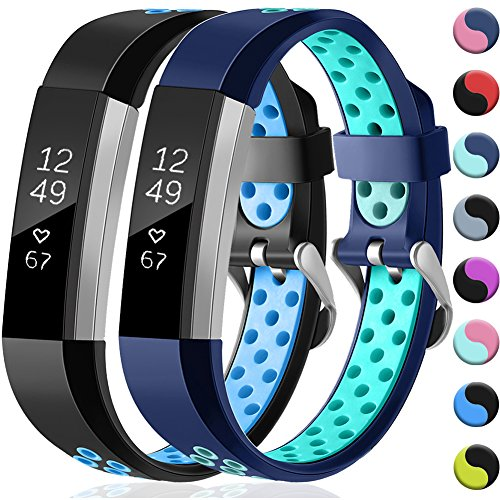 GEAK For Fitbit Ace/Fitbit Alta & Alta HR Bands, Sport Replacement Silicone Breathable Strap Bands for Fitbit Ace/Alta HR/Alta, Small Black/Blue. Blue/Teal
