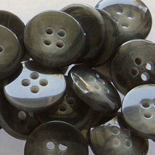 "Classics Textured Charcoal (Fancy & Decorative {15mm w/ 4 Holes} 24 Pack of Medium Size Round ""Flat"" Sewing & Craft Buttons Made of Acrylic Resin w/ Dark Shiny Smooth Charcoal Wood Stone Textured Classic Design {Gray & Black})"