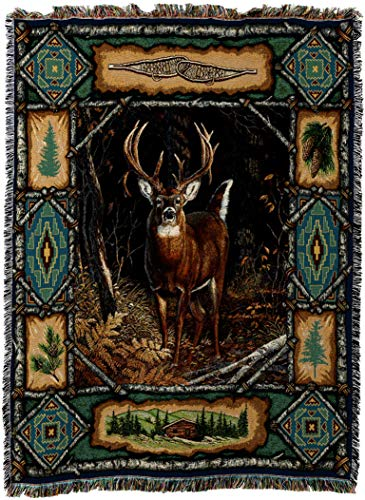 Pure Country Weavers - Deer Lodge Cabin Hunting Decor Woven Tapestry Throw Blanket with Fringe Cotton USA 72x54