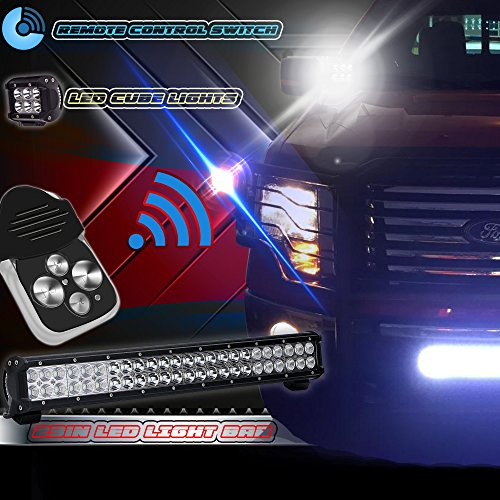 TURBOSII 23IN-144W-WIRING-RM LED Light Bar Flood and Spot Combo Beam Work Light for Van Camper Wagon Pickup Atv Ute Suv Boat 4 x 4 Jeep Off-road Plus Wiring Harness Kit (Gmc Savana 2500 Grille)