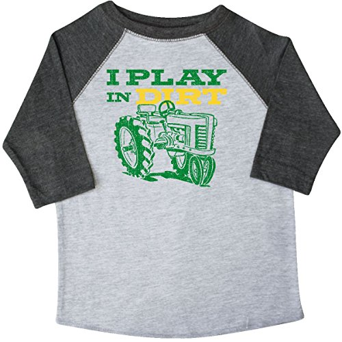 Farm Equipment T-shirt - inktastic Play in Dirt Tractor Toddler T-Shirt 2T 3/4 Sleeve Heather Smoke