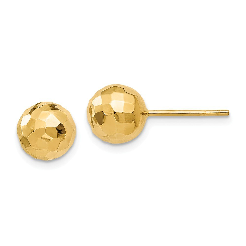 Solid 14k Yellow Gold Polished Faceted Post Earrings 8mm x 8mm