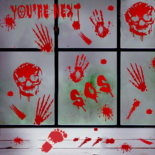 52PCS Halloween Bloody Handprints Footprints Window Floor Clings Decals Bloody Skull Wall Stickers For Halloween Vampire Zombie Party Decoration Supplies(6 Sheets)