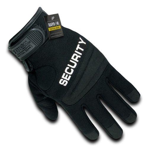 RAPDOM Tactical Security Digital Leather Gloves, Black, Large