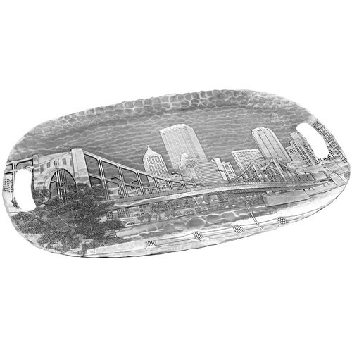 Pittsburgh's Andy Warhol Bridge from the Allegheny Luncheon Tray, Metal, Decorative, Made in the USA by Wendell August ()