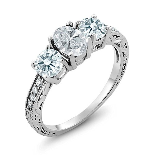 Sterling Silver New King - Gem Stone King 3-Stone 1.80 Ctw 925 Sterling Silver Engagement Ring Made With White Swarovski Zirconia (Size 5,6,7,8,9)