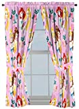 Disney Princess Sassy 63'' Inch Drapes 4 Piece Set - Beautiful Room Décor & Easy Set Up, Bedding Features Cinderella & Belle - Window Curtains Include 2 Panels & 2 Tiebacks (Official Disney Product)