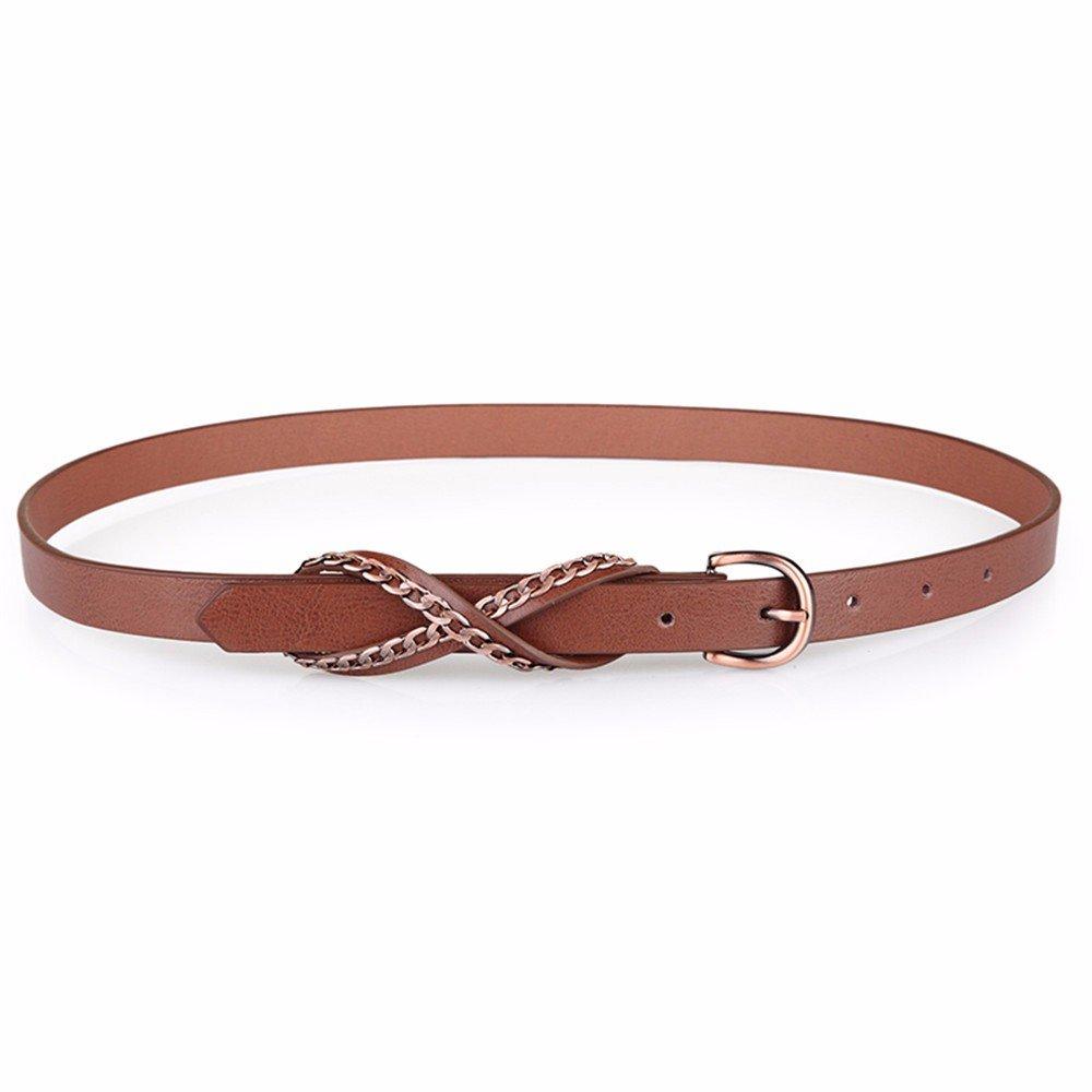 SAIBANGZI Ms Women All Seasons Belt Fashion Metal Chain Needle Buckle Fine Decorative Belt Girlfriend Present Brown 78-88Cm