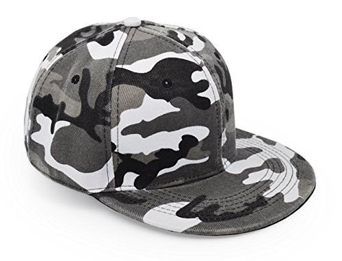 Camo Cap Bill (UltraKey Flat Brim Cap, Army Military Camo Baseball Cap Camouflage Hip Hop Flat Bill Plain Snapback Hats Grey)