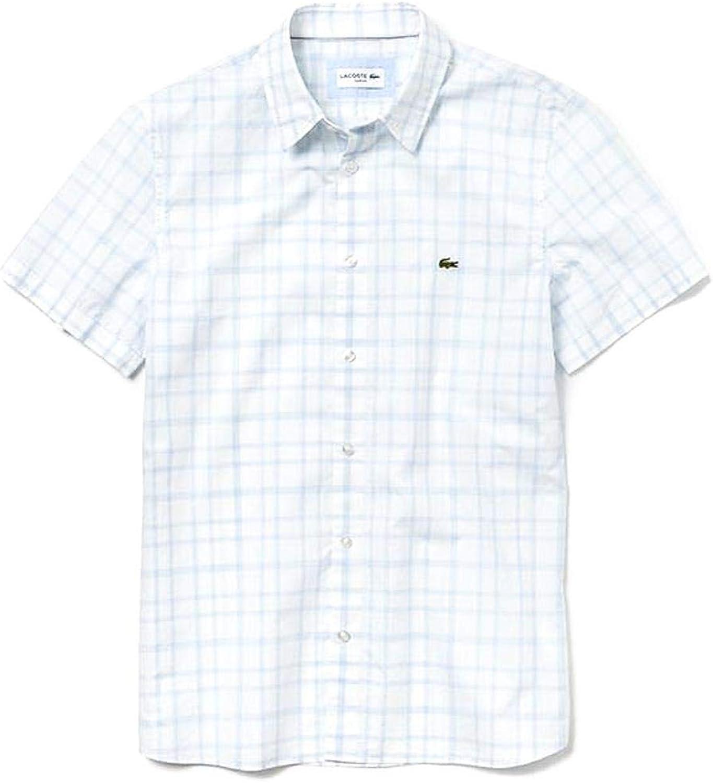 Lacoste Camisa Wide Check Short Blanco Hombre 46 Blanco: Amazon.es: Ropa y accesorios