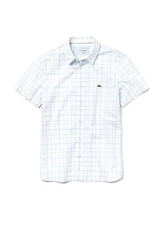 Lacoste Camisa Wide Check Short Blanco Hombre 46 Blanco: Amazon.es ...