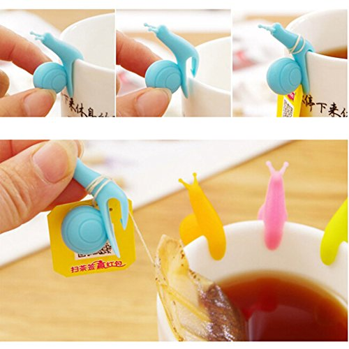VANKER 5Pcs Random Color Silicone Snail Shape Design Tea Bag Holder Gift Set Cup Mug by Vanker (Image #5)