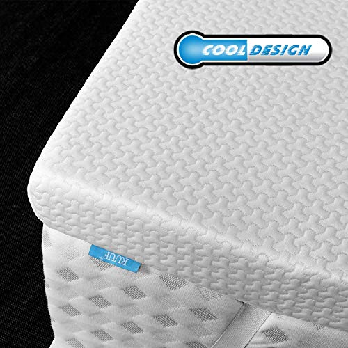 RUUF Memory Foam Mattress Topper Queen | 2-Inch High Density Active Cooling Bed Topper | Removable & Washable Hypoallergenic Cover | CertiPUR-US