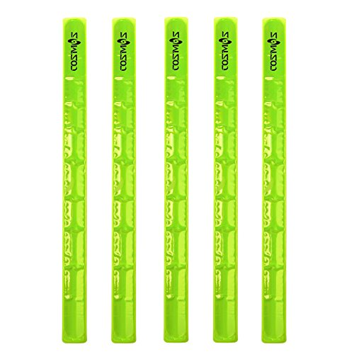 Cosmos® Reflective Snap Pop Band Bracelets Pant Cuff Strap for Cycling / Bike / Running / Walking (Neon Yellow x 5 ()